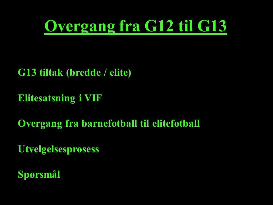 Overgang fra G12 til G13 G13 tiltak (bredde / elite) Elitesatsning i VIF Overgang fra barnefotball til elitefotball Utvelgelsesprosess Spørsmål