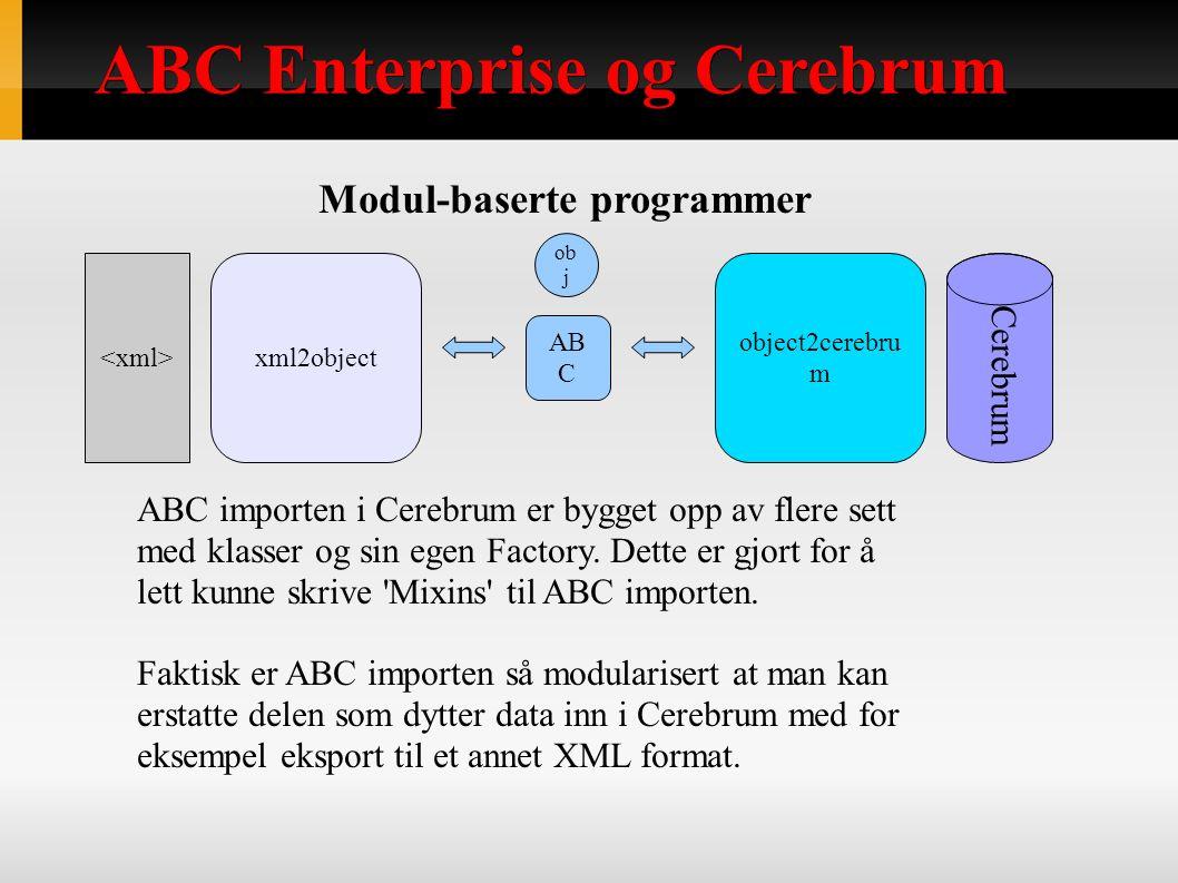 ABC Enterprise og Cerebrum Modul-baserte programmer ABC importen i Cerebrum er bygget opp av flere sett med klasser og sin egen Factory.