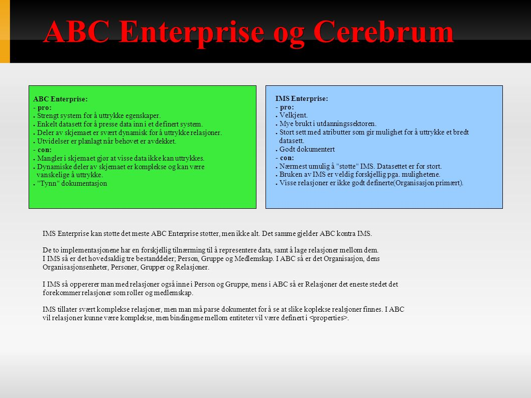 ABC Enterprise og Cerebrum IMS Enterprise kan støtte det meste ABC Enterprise støtter, men ikke alt.