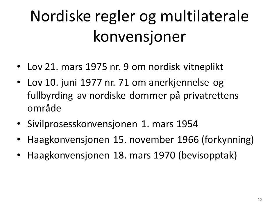 Nordiske regler og multilaterale konvensjoner Lov 21. mars 1975 nr. 9 om nordisk vitneplikt Lov 10. juni 1977 nr. 71 om anerkjennelse og fullbyrding a