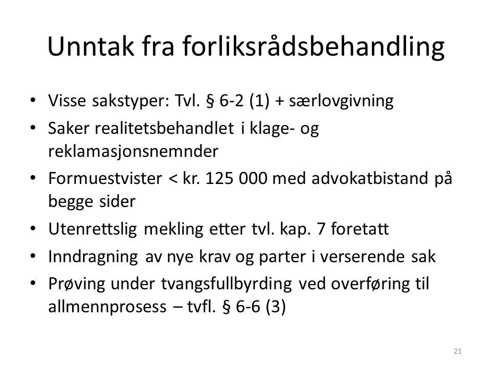 Unntak fra forliksrådsbehandling Visse sakstyper: Tvl.