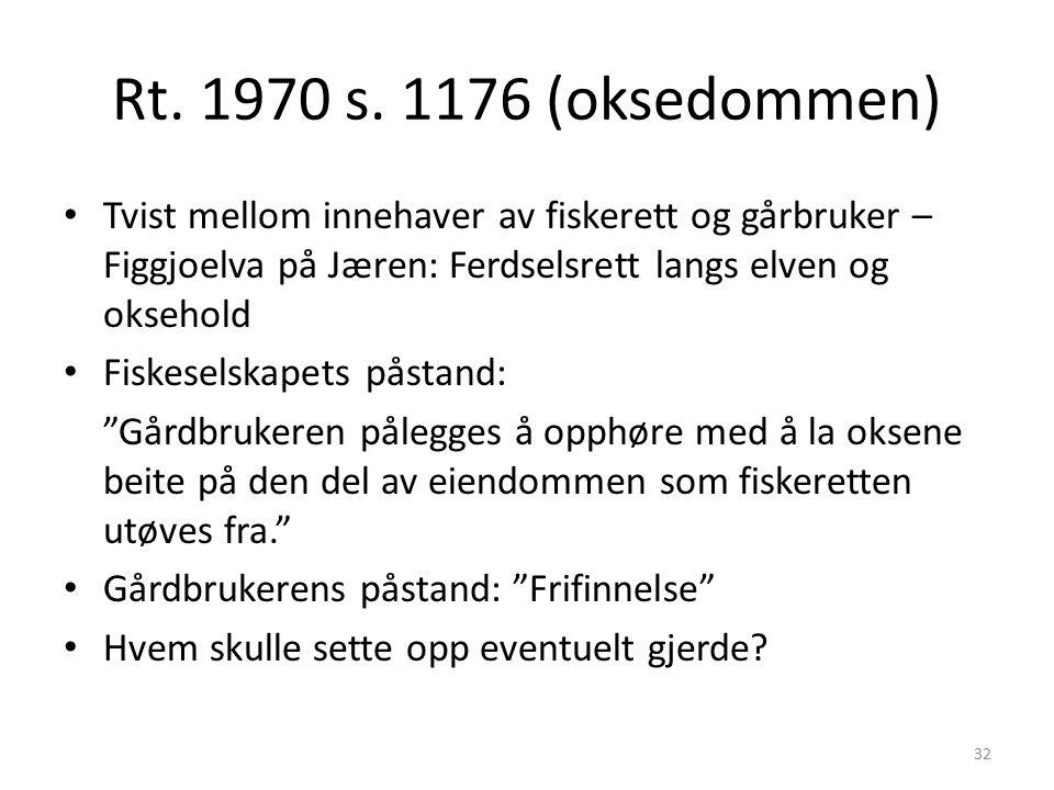 Rt. 1970 s. 1176 (oksedommen) Tvist mellom innehaver av fiskerett og gårbruker – Figgjoelva på Jæren: Ferdselsrett langs elven og oksehold Fiskeselska