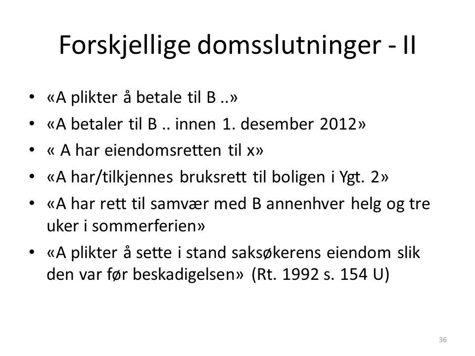 Forskjellige domsslutninger - II «A plikter å betale til B..» «A betaler til B.. innen 1. desember 2012» « A har eiendomsretten til x» «A har/tilkjenn