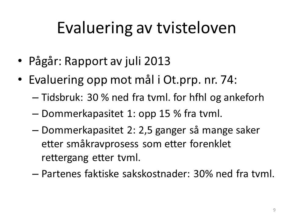 Evaluering av tvisteloven Pågår: Rapport av juli 2013 Evaluering opp mot mål i Ot.prp. nr. 74: – Tidsbruk: 30 % ned fra tvml. for hfhl og ankeforh – D