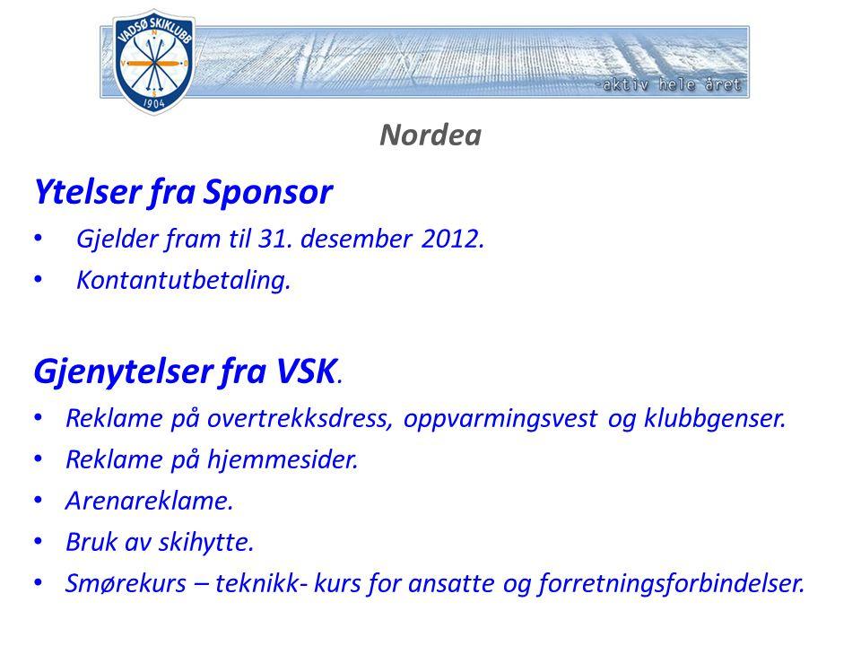 Nordea Ytelser fra Sponsor Gjelder fram til 31. desember 2012.
