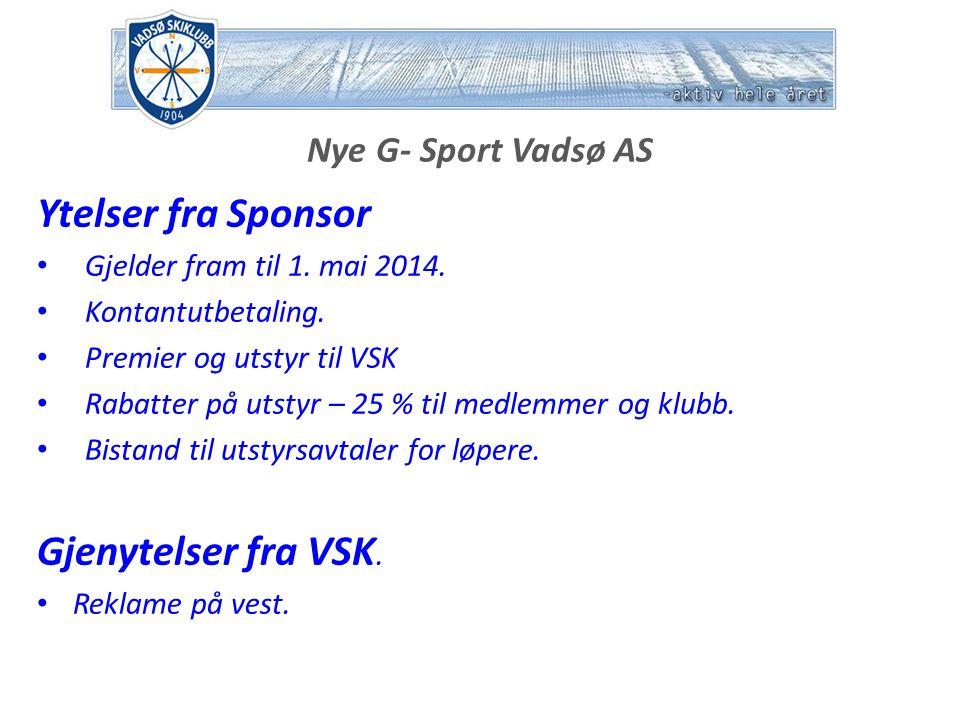 Nye G- Sport Vadsø AS Ytelser fra Sponsor Gjelder fram til 1.