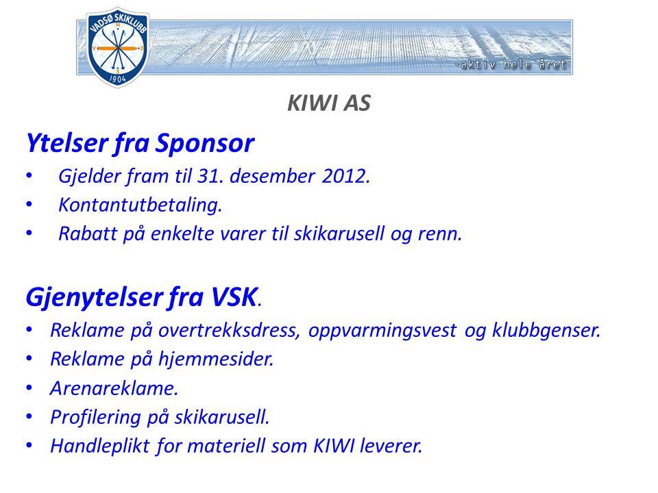 KIWI AS Ytelser fra Sponsor Gjelder fram til 31. desember 2012.