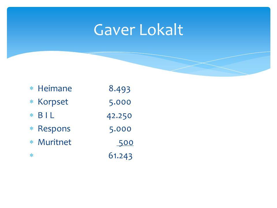  Heimane 8.493  Korpset 5.000  B I L 42.250  Respons 5.000  Muritnet 500  61.243 Gaver Lokalt