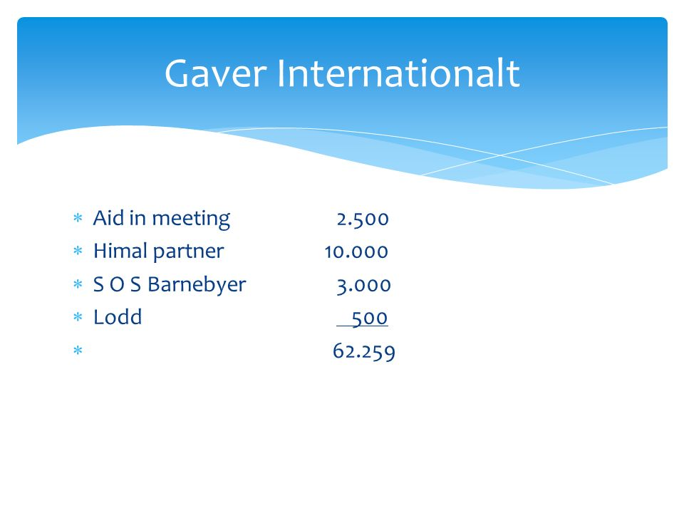  Aid in meeting 2.500  Himal partner 10.000  S O S Barnebyer 3.000  Lodd 500  62.259 Gaver Internationalt