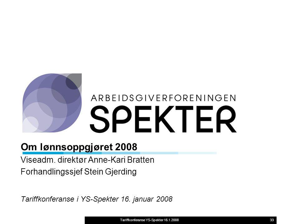 Tariffkonferanse YS-Spekter 16.1.200833 Om lønnsoppgjøret 2008 Viseadm.