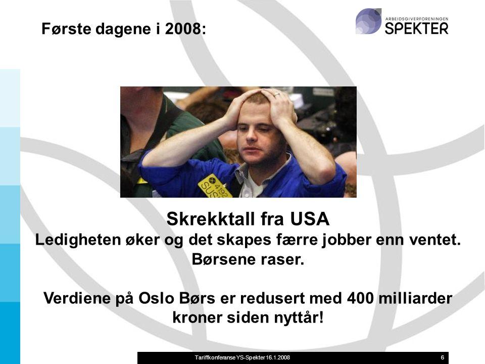 Tariffkonferanse YS-Spekter 16.1.20086 Skrekktall fra USA Ledigheten øker og det skapes færre jobber enn ventet.