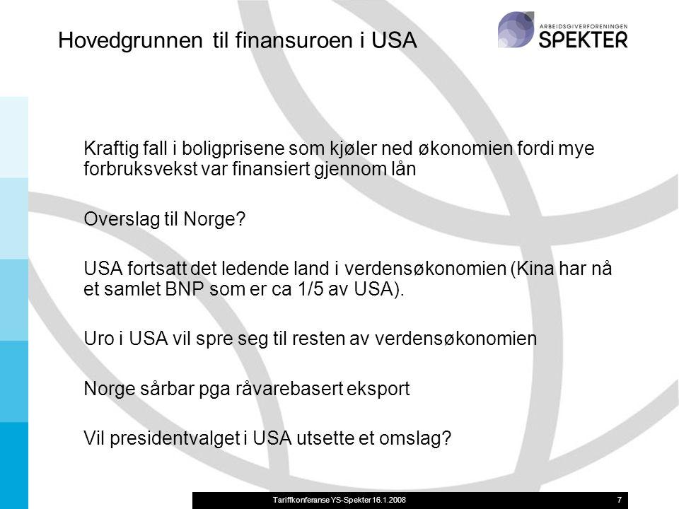Tariffkonferanse YS-Spekter 16.1.20087 Hovedgrunnen til finansuroen i USA Kraftig fall i boligprisene som kjøler ned økonomien fordi mye forbruksvekst var finansiert gjennom lån Overslag til Norge.