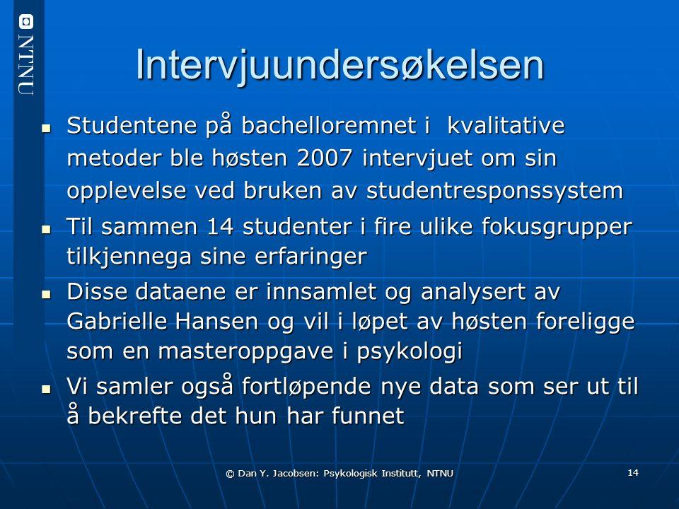 © Dan Y. Jacobsen: Psykologisk Institutt, NTNU 14 Intervjuundersøkelsen Studentene på bachelloremnet i kvalitative metoder ble høsten 2007 intervjuet