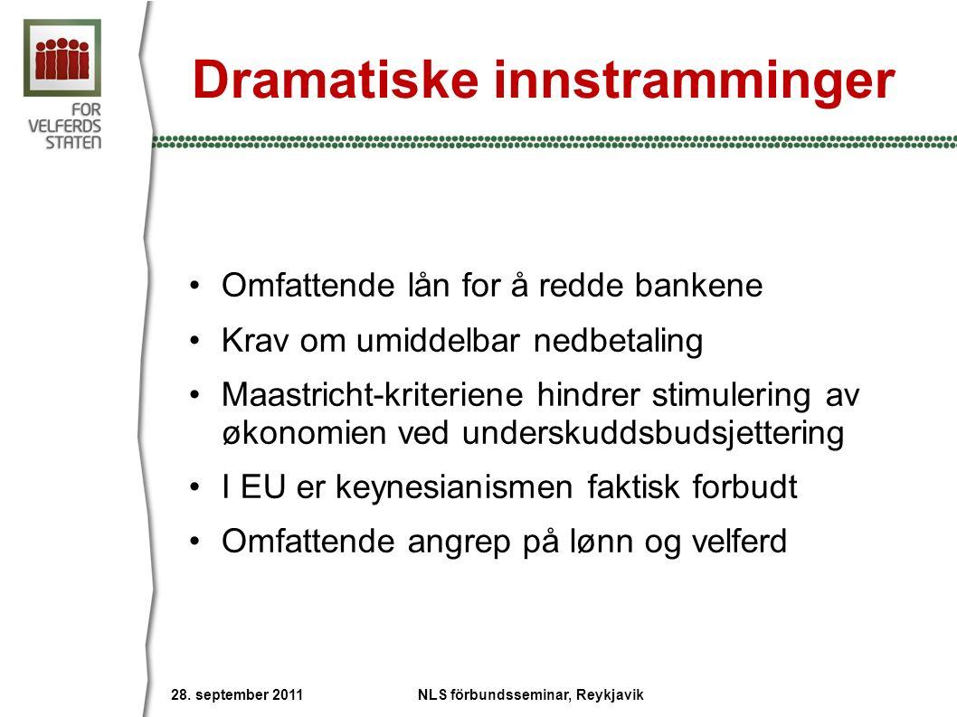 Dramatiske innstramminger Omfattende lån for å redde bankene Krav om umiddelbar nedbetaling Maastricht-kriteriene hindrer stimulering av økonomien ved underskuddsbudsjettering I EU er keynesianismen faktisk forbudt Omfattende angrep på lønn og velferd 28.