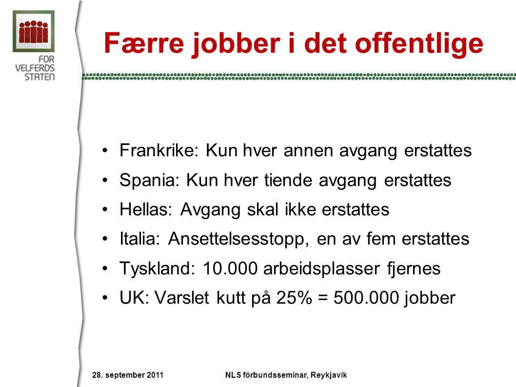 Færre jobber i det offentlige Frankrike: Kun hver annen avgang erstattes Spania: Kun hver tiende avgang erstattes Hellas: Avgang skal ikke erstattes Italia: Ansettelsesstopp, en av fem erstattes Tyskland: 10.000 arbeidsplasser fjernes UK: Varslet kutt på 25% = 500.000 jobber 28.