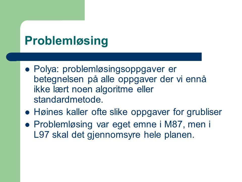 Problemløsing Polyas idé om problemløsing, en prosess i fire ledd: Formulere problemet Analysere problemet og komme fram til en løsningsmetode Foreta nødvendige beregninger Vurdere framgangsmåte og resultater
