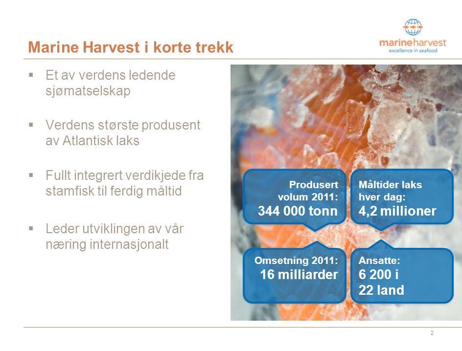 Marine Harvest i korte trekk  Et av verdens ledende sjømatselskap  Verdens største produsent av Atlantisk laks  Fullt integrert verdikjede fra stamfisk til ferdig måltid  Leder utviklingen av vår næring internasjonalt 2 Ansatte: 6 200 i 22 land Omsetning 2011: 16 milliarder Produsert volum 2011: 344 000 tonn Måltider laks hver dag: 4,2 millioner Fakta som synliggjør størrelse