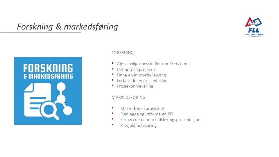Forskning & markedsføring FORSKNING Gjøre bakgrunnsstudier om årets tema Definere et problem Finne en innovativ løsning Forberede en presentasjon Prosjektinnlevering MARKEDSFØRING Markedsføre prosjektet Planlegge og utforme en PIT Forberede en markedsføringspresentasjon Prosjektinnlevering