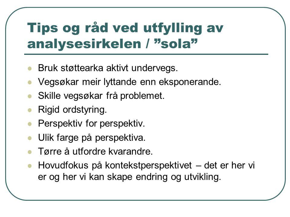 Tips og råd ved utfylling av analysesirkelen / sola Bruk støttearka aktivt undervegs.