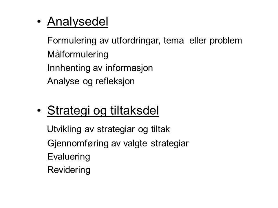 Analysedel Formulering av utfordringar, tema eller problem Målformulering Innhenting av informasjon Analyse og refleksjon Strategi og tiltaksdel Utvikling av strategiar og tiltak Gjennomføring av valgte strategiar Evaluering Revidering