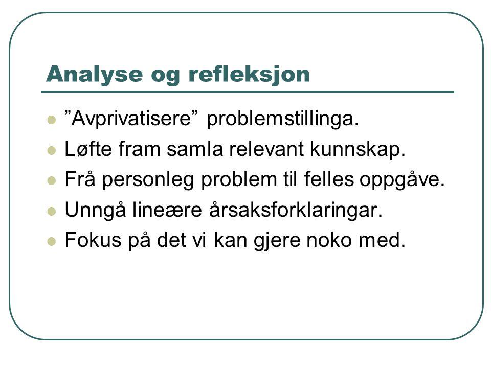 Analyse og refleksjon Avprivatisere problemstillinga.