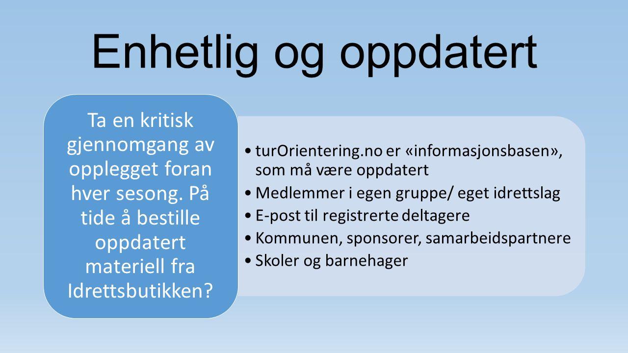 Enhetlig og oppdatert turOrientering.no er «informasjonsbasen», som må være oppdatert Medlemmer i egen gruppe/ eget idrettslag E-post til registrerte