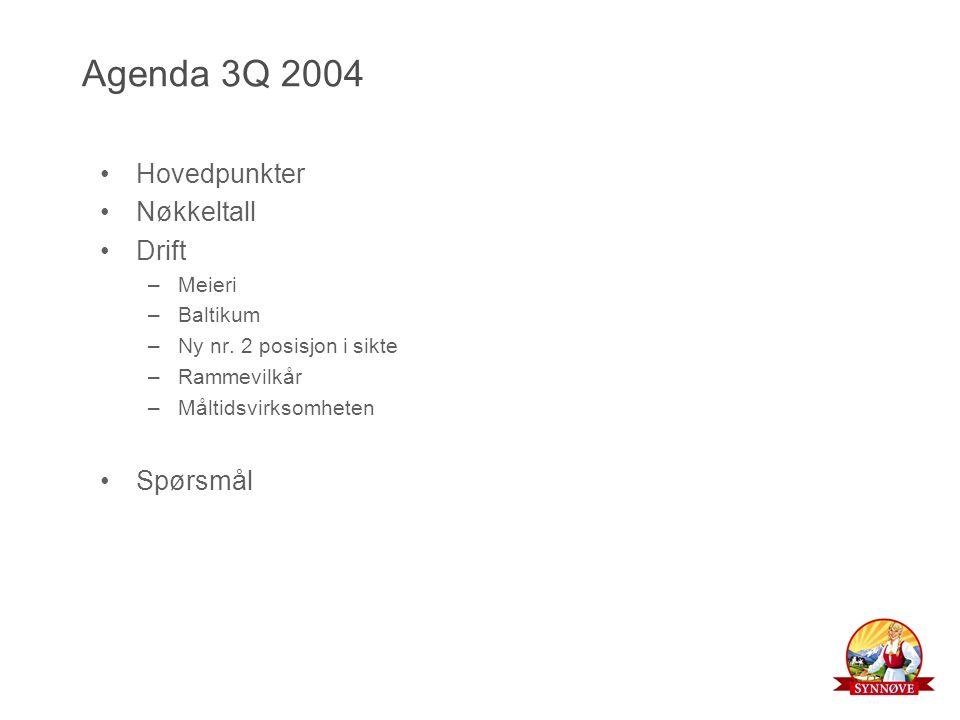 Agenda 3Q 2004 Hovedpunkter Nøkkeltall Drift –Meieri –Baltikum –Ny nr.