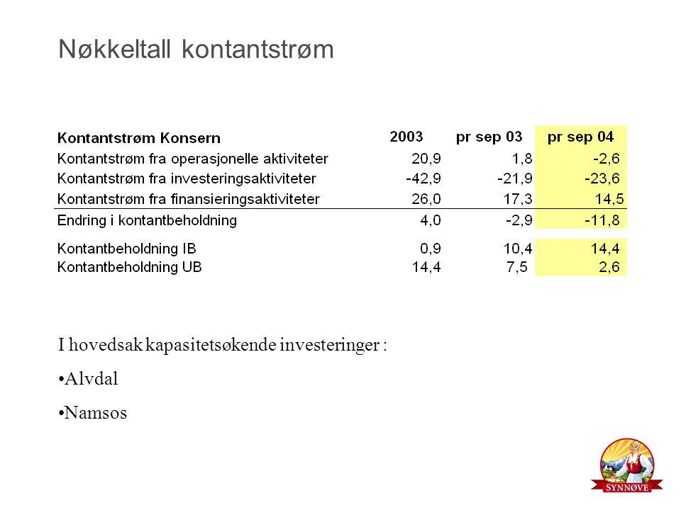 Nøkkeltall kontantstrøm I hovedsak kapasitetsøkende investeringer : Alvdal Namsos