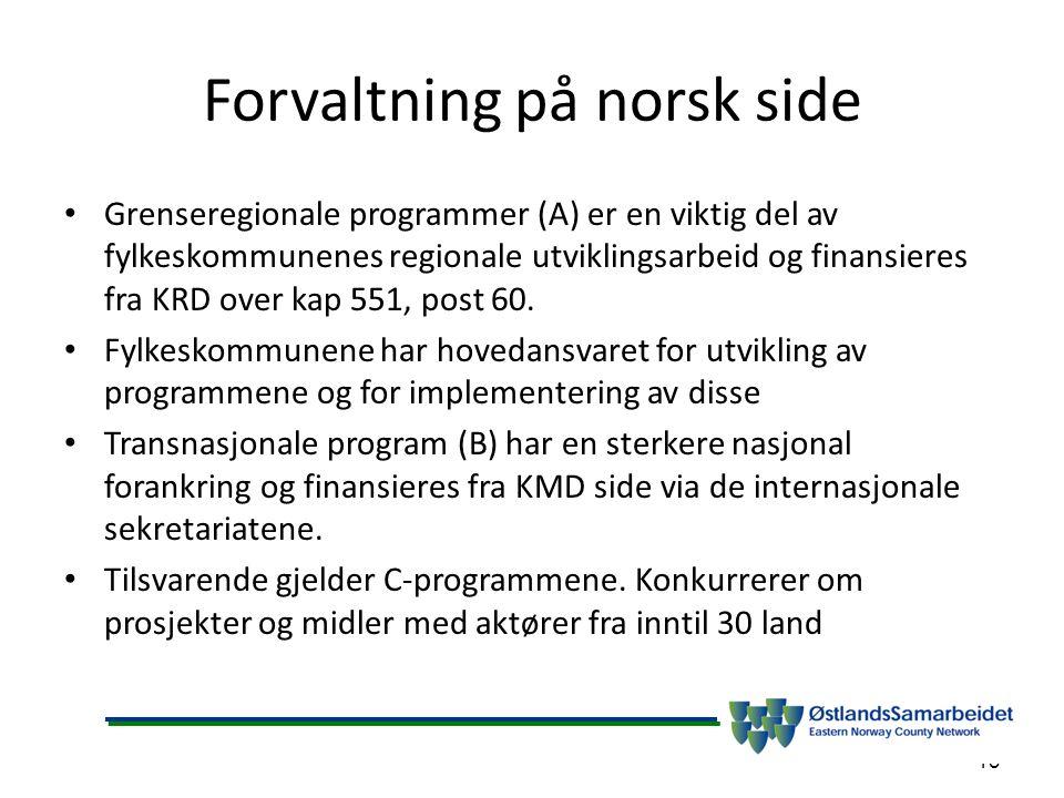 Forvaltning på norsk side Grenseregionale programmer (A) er en viktig del av fylkeskommunenes regionale utviklingsarbeid og finansieres fra KRD over kap 551, post 60.