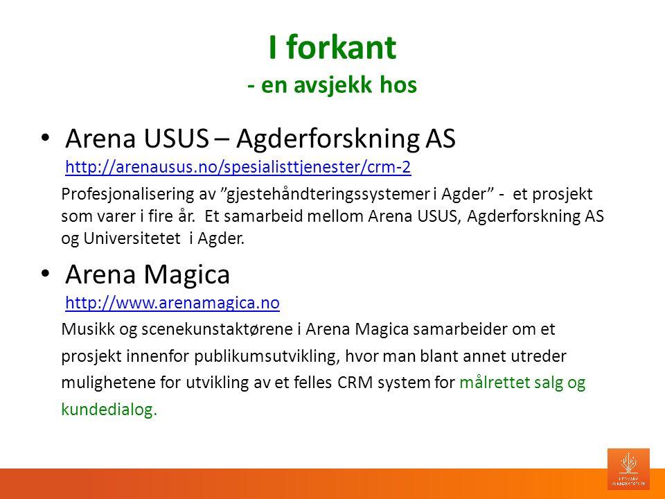 I forkant - en avsjekk hos Arena USUS – Agderforskning AS http://arenausus.no/spesialisttjenester/crm-2 http://arenausus.no/spesialisttjenester/crm-2 Profesjonalisering av gjestehåndteringssystemer i Agder - et prosjekt som varer i fire år.