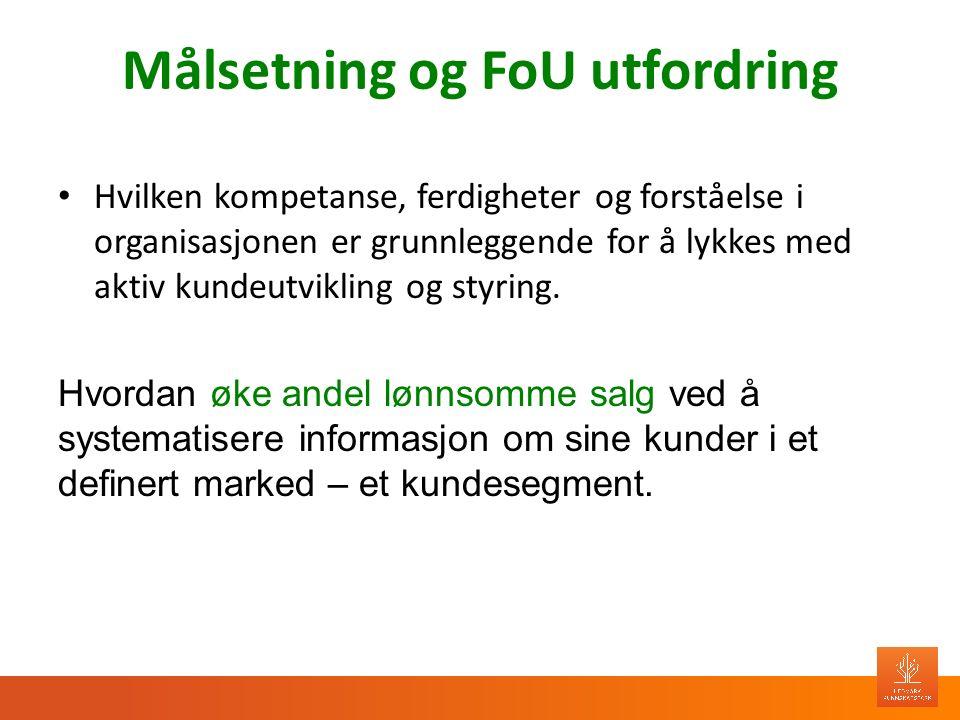 Målsetning og FoU utfordring Hvilken kompetanse, ferdigheter og forståelse i organisasjonen er grunnleggende for å lykkes med aktiv kundeutvikling og styring.