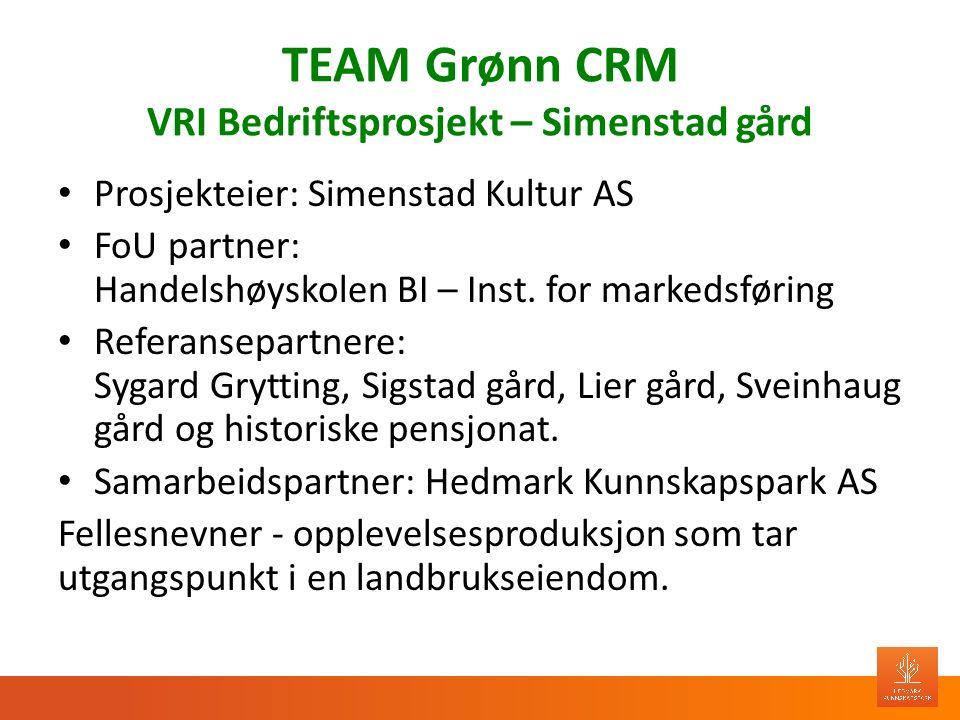 TEAM Grønn CRM VRI Bedriftsprosjekt – Simenstad gård Prosjekteier: Simenstad Kultur AS FoU partner: Handelshøyskolen BI – Inst. for markedsføring Refe