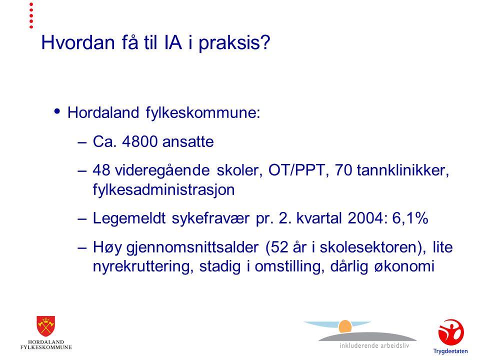 Hvordan få til IA i praksis.  Hordaland fylkeskommune: –Ca.
