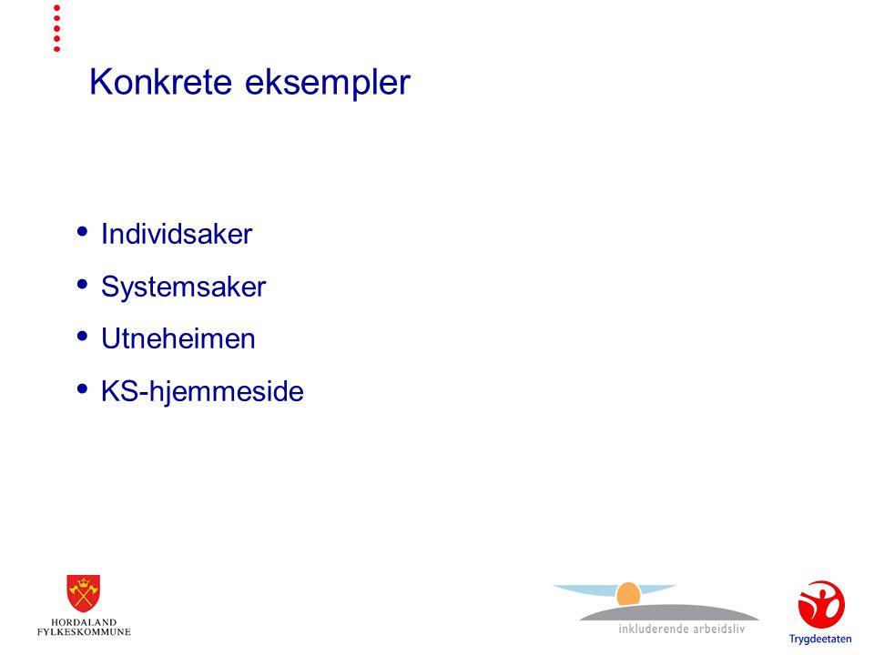 Konkrete eksempler  Individsaker  Systemsaker  Utneheimen  KS-hjemmeside