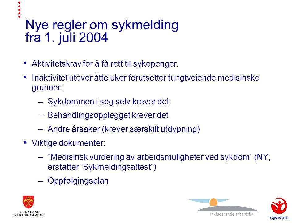 Nye regler om sykmelding fra 1. juli 2004  Aktivitetskrav for å få rett til sykepenger.