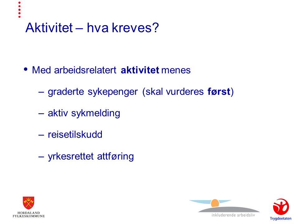 Aktivitet – hva kreves.