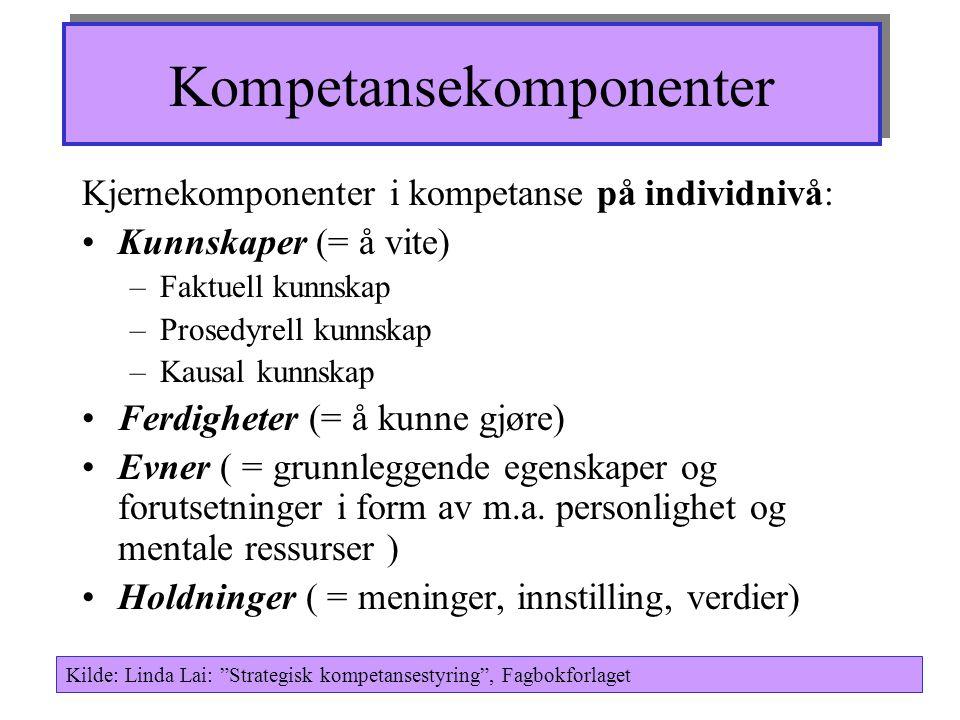 Kompetansekomponenter Kjernekomponenter i kompetanse på individnivå: Kunnskaper (= å vite) –Faktuell kunnskap –Prosedyrell kunnskap –Kausal kunnskap Ferdigheter (= å kunne gjøre) Evner ( = grunnleggende egenskaper og forutsetninger i form av m.a.
