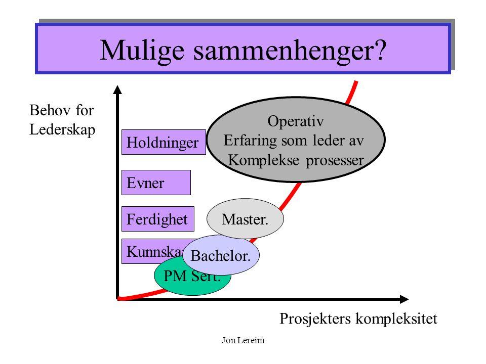 Jon Lereim Mulige sammenhenger.