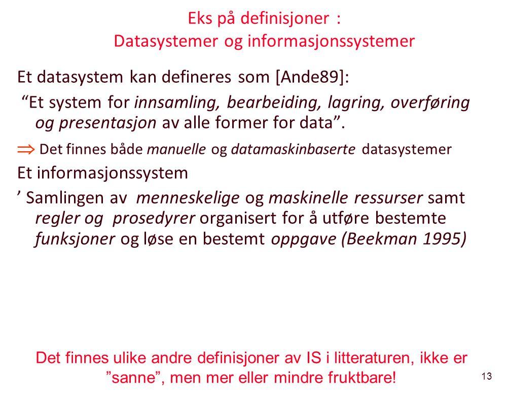 """13 Eks på definisjoner : Datasystemer og informasjonssystemer Et datasystem kan defineres som [Ande89]: """"Et system for innsamling, bearbeiding, lagrin"""