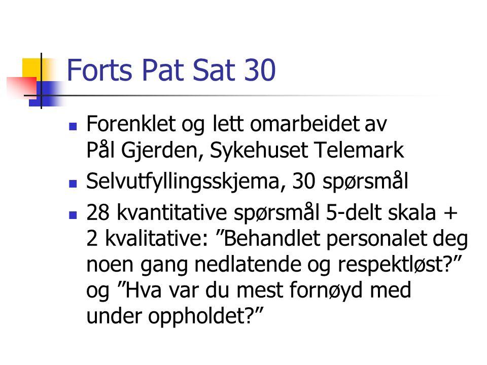 Forts Pat Sat 30 Forenklet og lett omarbeidet av Pål Gjerden, Sykehuset Telemark Selvutfyllingsskjema, 30 spørsmål 28 kvantitative spørsmål 5-delt ska