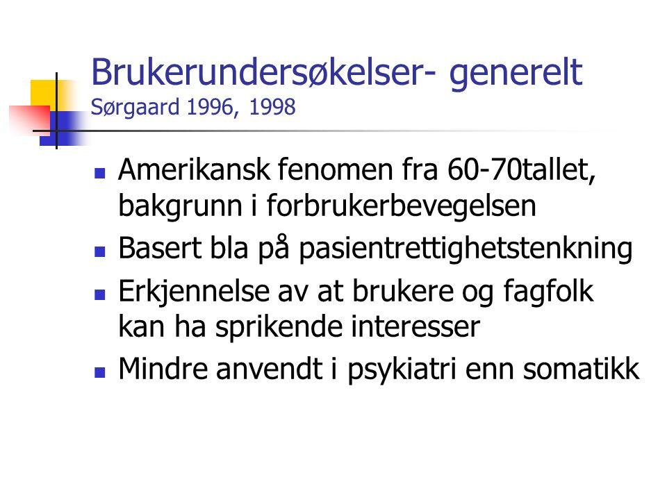 Brukerundersøkelser- generelt Sørgaard 1996, 1998 Amerikansk fenomen fra 60-70tallet, bakgrunn i forbrukerbevegelsen Basert bla på pasientrettighetstenkning Erkjennelse av at brukere og fagfolk kan ha sprikende interesser Mindre anvendt i psykiatri enn somatikk