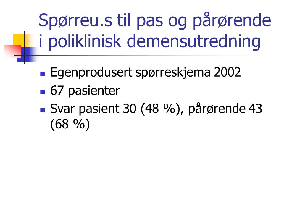 Spørreu.s til pas og pårørende i poliklinisk demensutredning Egenprodusert spørreskjema 2002 67 pasienter Svar pasient 30 (48 %), pårørende 43 (68 %)