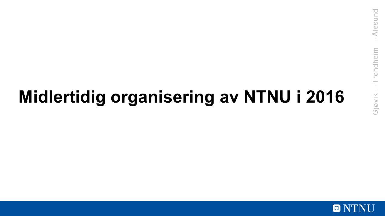 Midlertidig organisering av NTNU i 2016