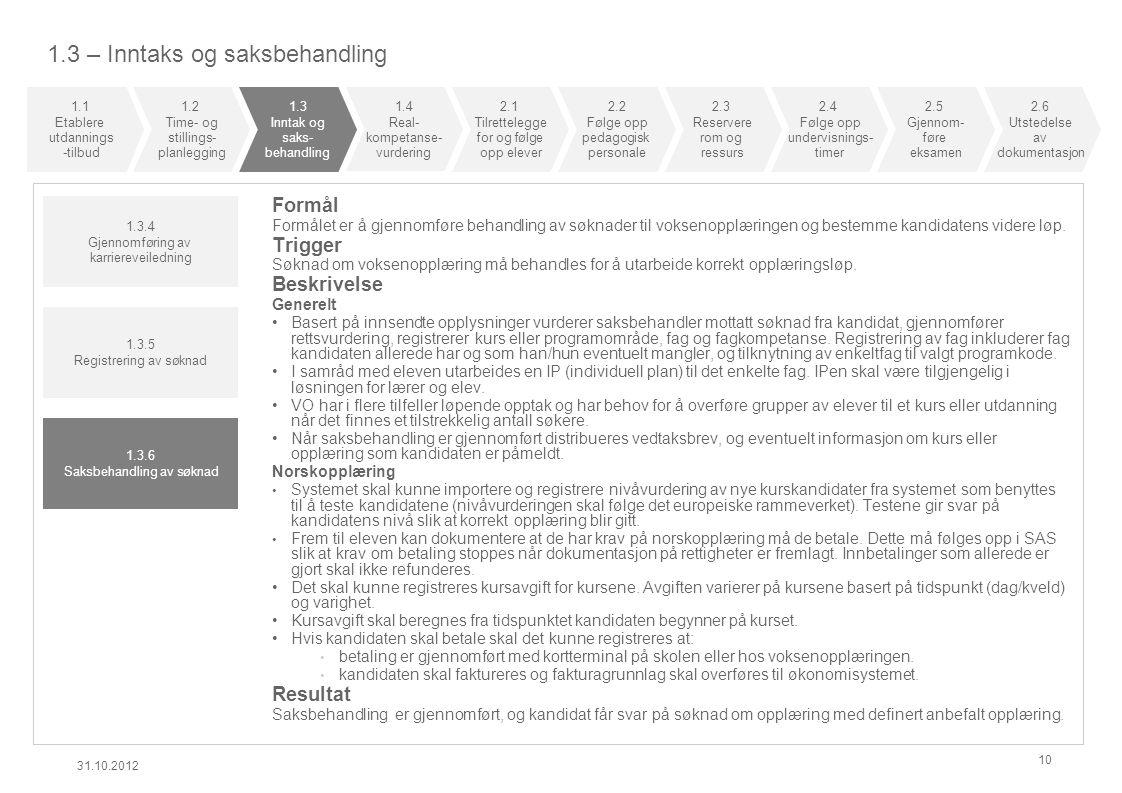 1.3 – Inntaks og saksbehandling 31.10.2012 10 Formål Formålet er å gjennomføre behandling av søknader til voksenopplæringen og bestemme kandidatens vi