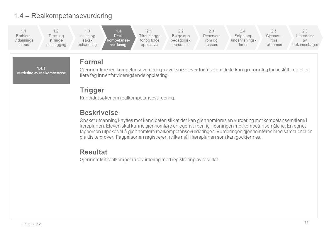 1.4 – Realkompetansevurdering 31.10.2012 11 Formål Gjennomføre realkompetansevurdering av voksne elever for å se om dette kan gi grunnlag for bestått i en eller flere fag innenfor videregående opplæring.