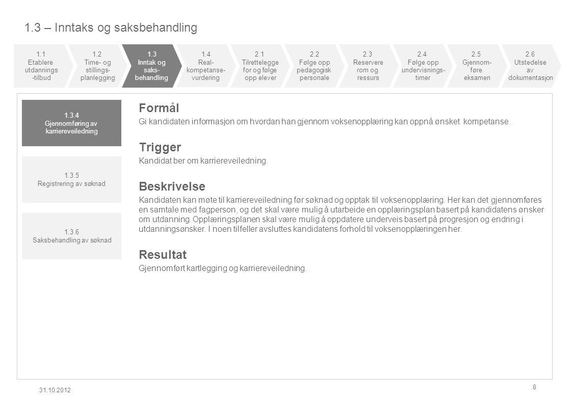 1.3 – Inntaks og saksbehandling 31.10.2012 8 Formål Gi kandidaten informasjon om hvordan han gjennom voksenopplæring kan oppnå ønsket kompetanse.