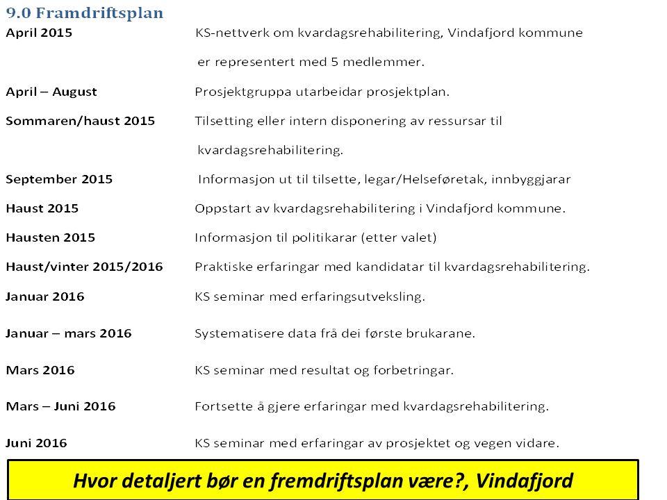 Hvor detaljert bør en fremdriftsplan være , Vindafjord