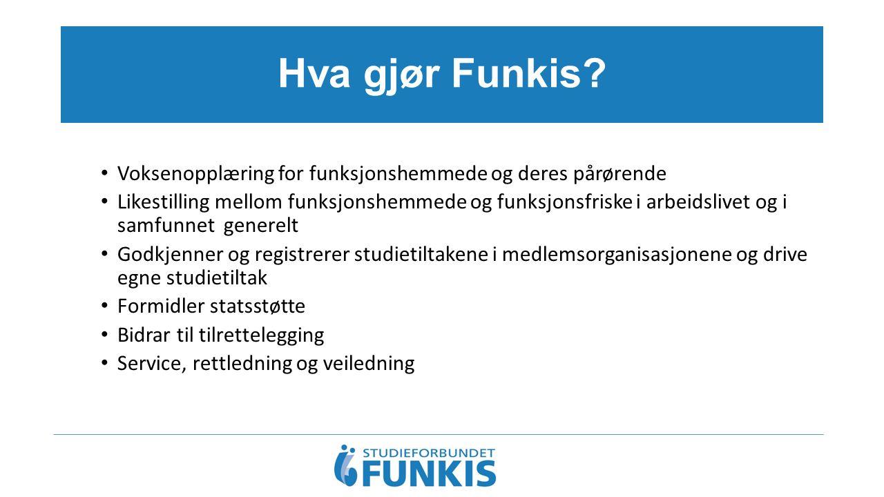 Hva gjør Funkis? Voksenopplæring for funksjonshemmede og deres pårørende Likestilling mellom funksjonshemmede og funksjonsfriske i arbeidslivet og i s