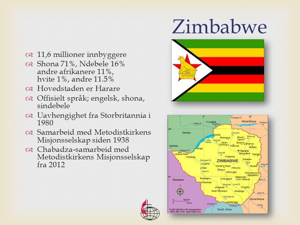 Zimbabwe  11,6 millioner innbyggere  Shona 71%, Ndebele 16% andre afrikanere 11%, hvite 1%, andre 11.5%  Hovedstaden er Harare  Offisielt språk; engelsk, shona, sindebele  Uavhengighet fra Storbritannia i 1980  Samarbeid med Metodistkirkens Misjonsselskap siden 1938  Chabadza-samarbeid med Metodistkirkens Misjonsselskap fra 2012