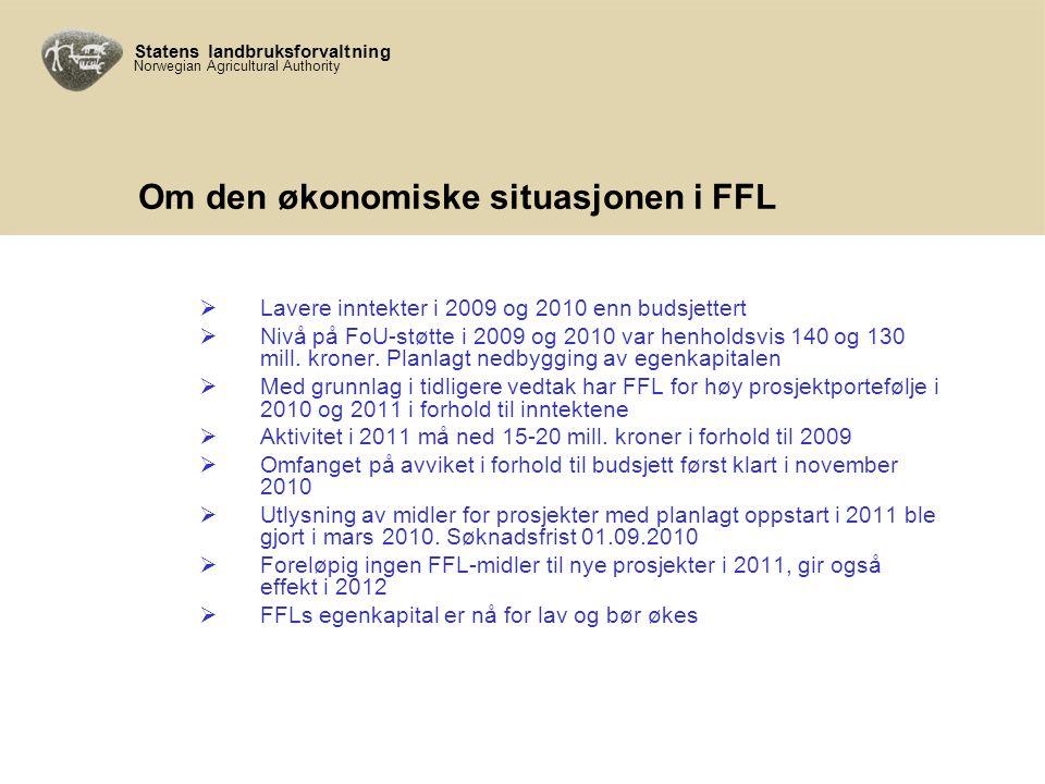 Statens landbruksforvaltning Norwegian Agricultural Authority Om den økonomiske situasjonen i FFL  Lavere inntekter i 2009 og 2010 enn budsjettert  Nivå på FoU-støtte i 2009 og 2010 var henholdsvis 140 og 130 mill.